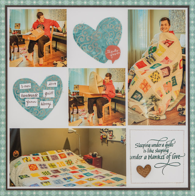 Sleeping Under a Quilt stamped and embossed with Acanthus Teal Modern Gilding Powder/ scrapbooking layout