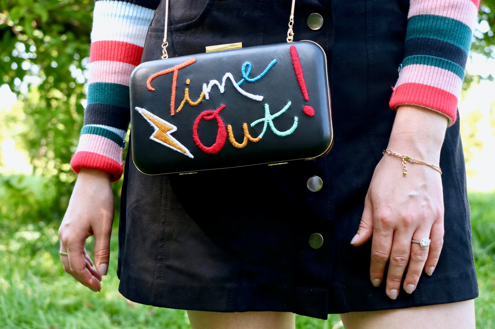 Nyc fashion blogger Kathleen Harper wearing a Time Out Alice and Olivia crossbody purse.