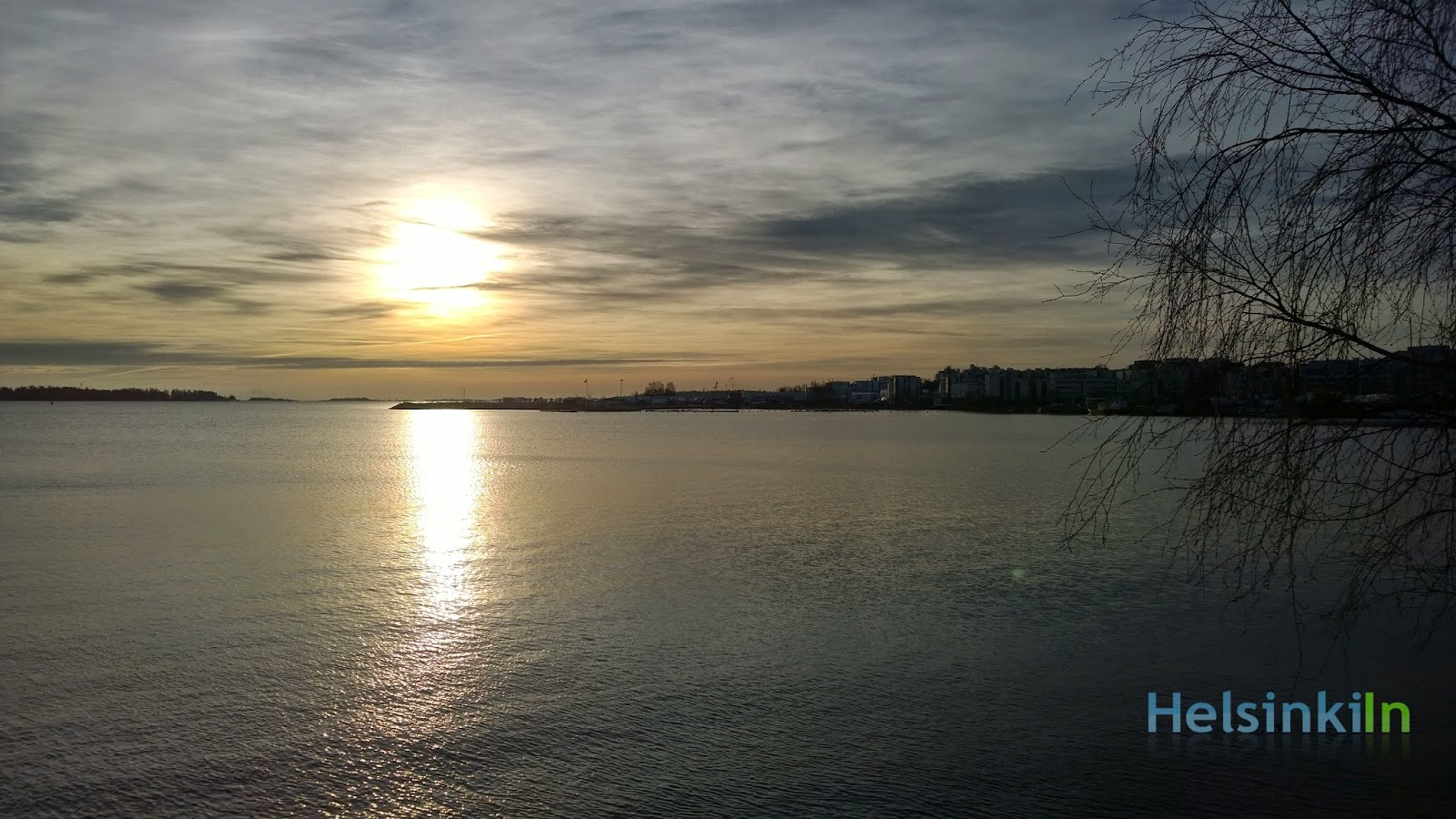 Sun over the still unfrozen Baltic Sea