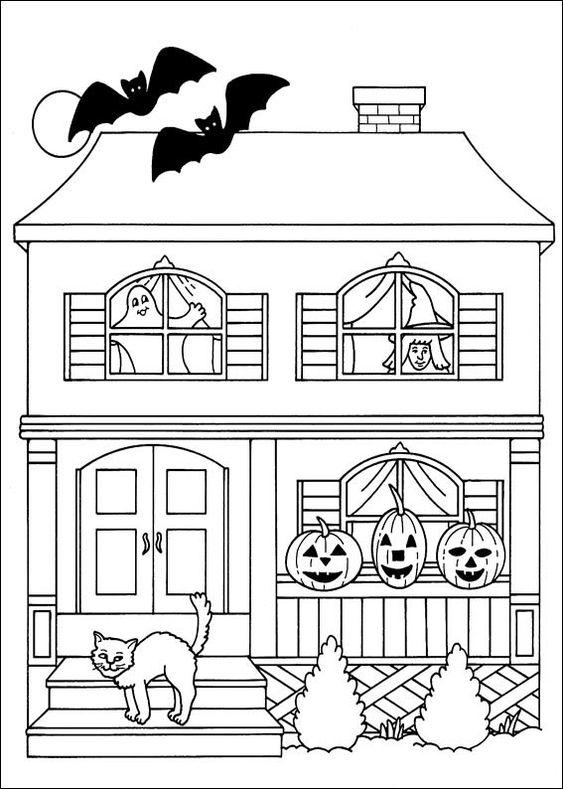 Tranh tô màu halloween siêu đáng yêu