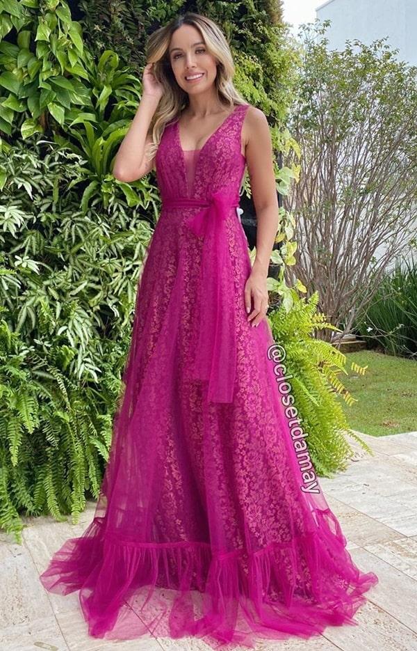 vestido fucsia para madrinha de casamento