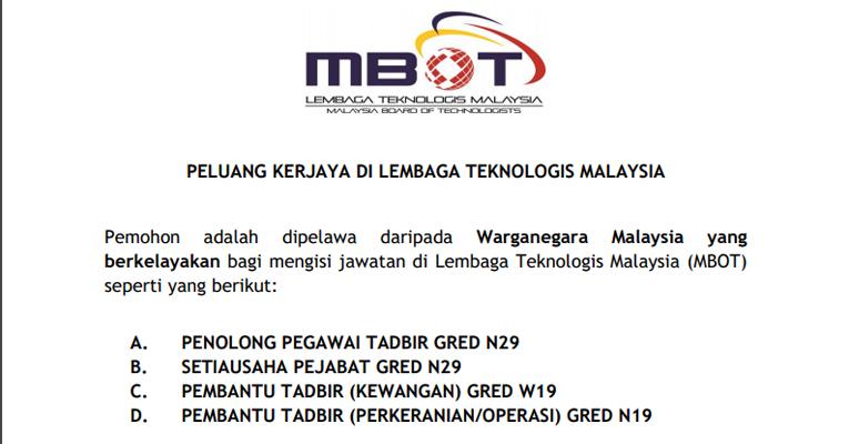Kekosongan Terkini di Lembaga Teknologis Malaysia (MBOT)