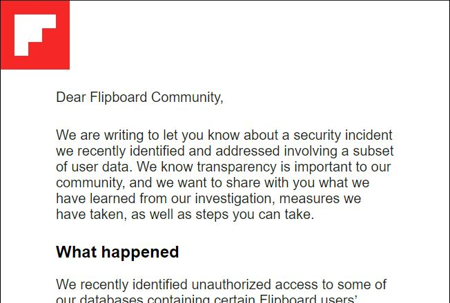 screenshot of email from Flipboard
