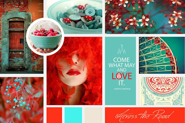 Grids of images, fonts and colors in the colors of turquoise, off-white and red