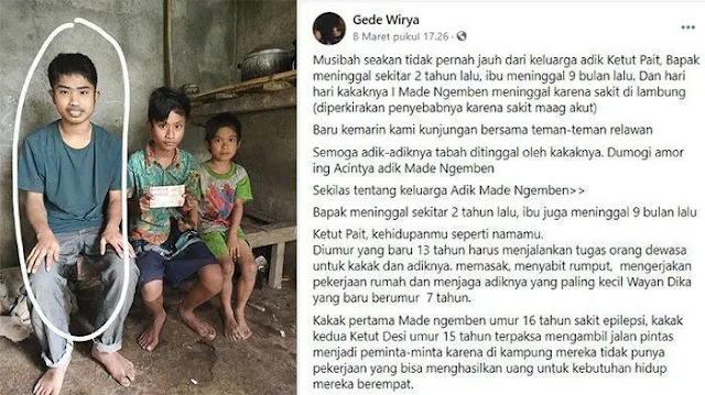 Alkisah di sudut negeri antah-berantah, hiduplah tiga orang kakak beradik. Komang (16) Ketut (13) dan Dika (7). Mereka menjalani hidup seadanya setelah sang ayah meninggal dunia 2 tahun yang lalu, kemudian ibunya pun menyusul kepergian sang ayah 9 bulan yang lalu.
