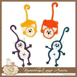 """Закладка для книг """"Разноцветные коты"""""""