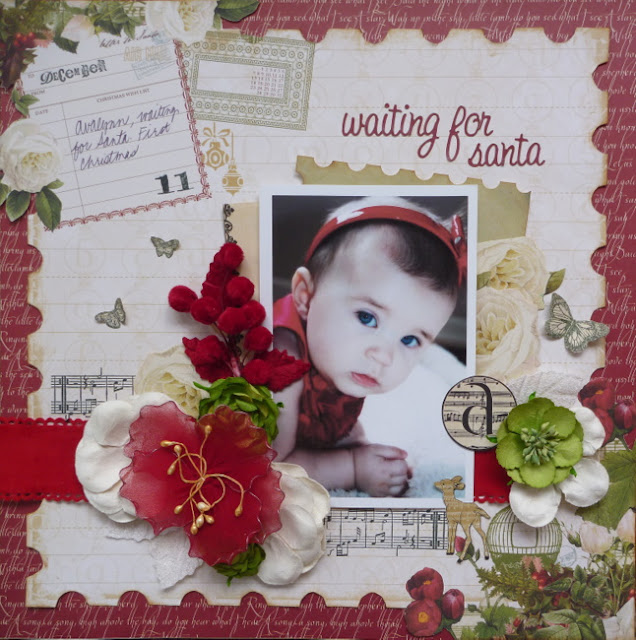 Red and Green Christmas Layout with Flowers, Stamping, and Butterflies