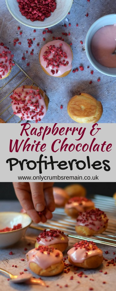 How to make raspberry & white chocolate profiteroles with hints and tips for making choux pastry.  The profiteroles are filled with a delicious white chocolate creme patissiere, glazed with a raspberry water icing and finished with a sprinkling of freeze dried raspberries.