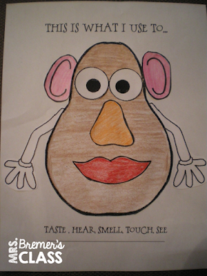 Five Senses activities for Kindergarten- love the potato head activity!