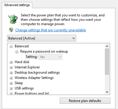 How to Change Advanced Power Setting