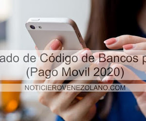 Listado de Código de Bancos para (Pago Móvil 2021)