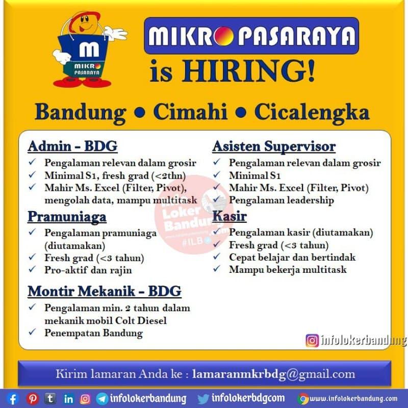 Lowongan Kerja Mikro Pasaraya Bandung Januari 2021
