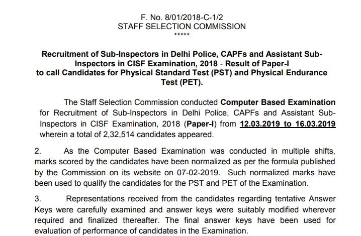 SSC CPO 2018 Tier 1 Result Declared, Download PDF Here   Educate