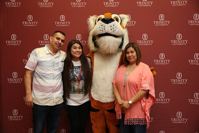 Trinity University parents with LeeRoy tiger mascot