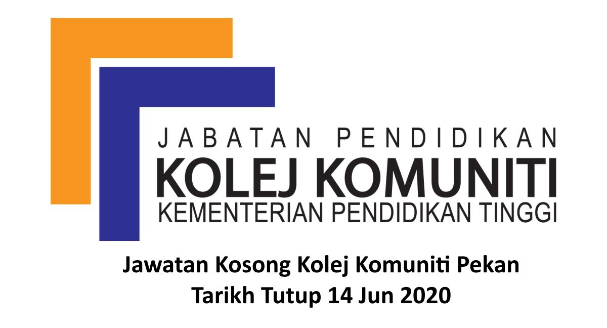 Jawatan Kosong Kolej Komuniti Pekan Pensyarah Psh Tarikh Tutup 14 Jun 2020