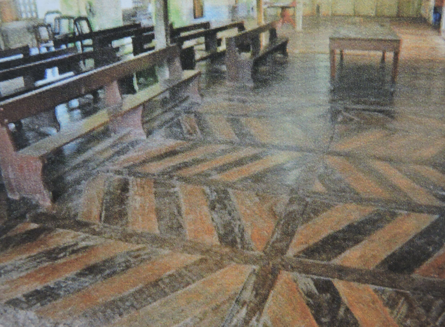 Lazi Church has molave floorwork arranged in a zigzag-like pattern