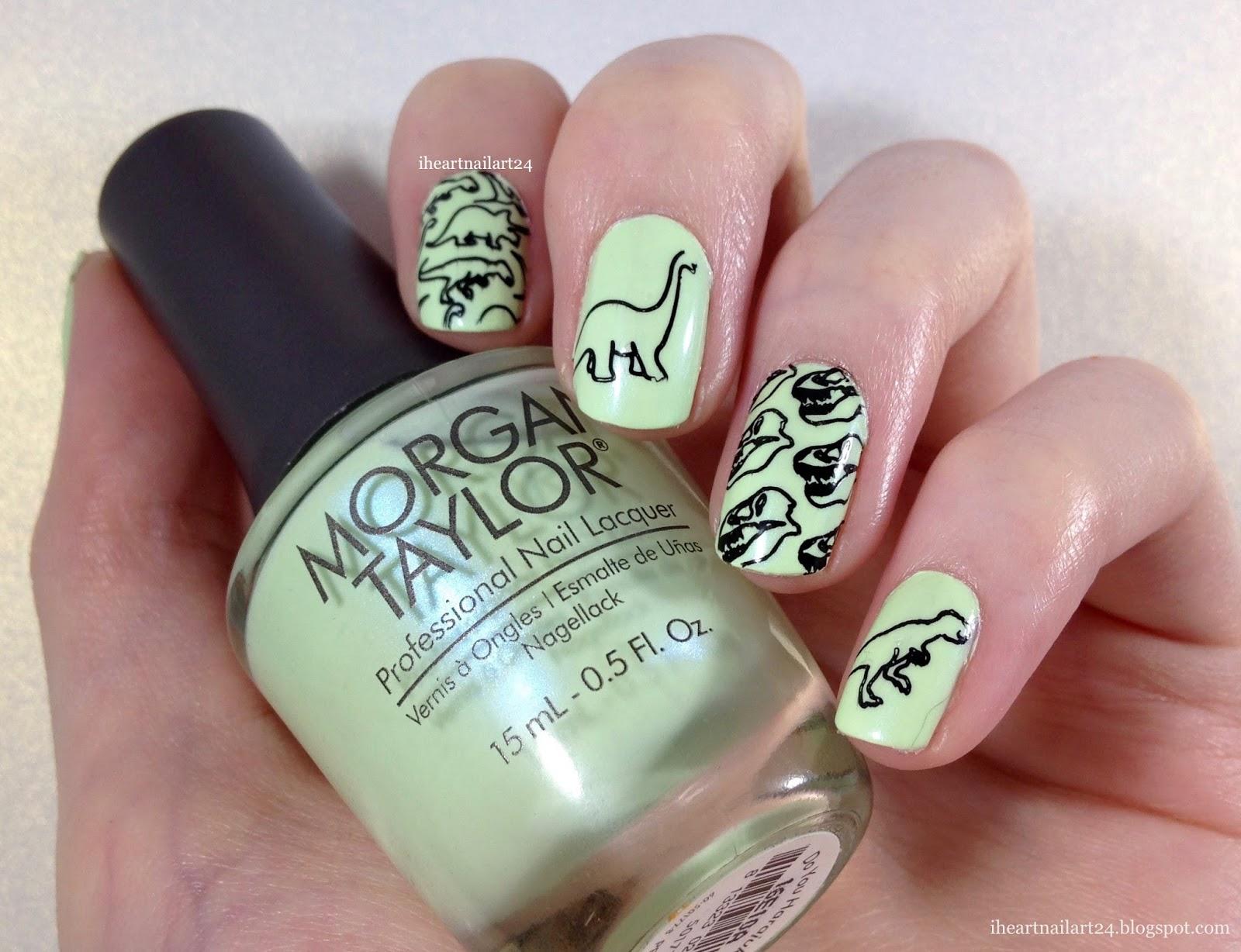 Dinosaur Stamped Nail Art | I Heart Nail Art