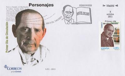 Sobre PDC del sello dedicado a Miguel Delibes, fallecido en 2010