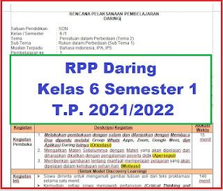 RPP DARING TEMATIK KELAS 6 SEMESTER 1 TAHUN PELAJARAN 2021/2022