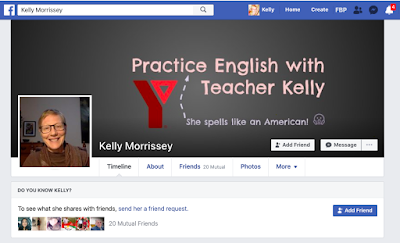 Kelly's Facebook profile picture and banner image screen shot