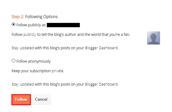 How to follow a blog on blogger