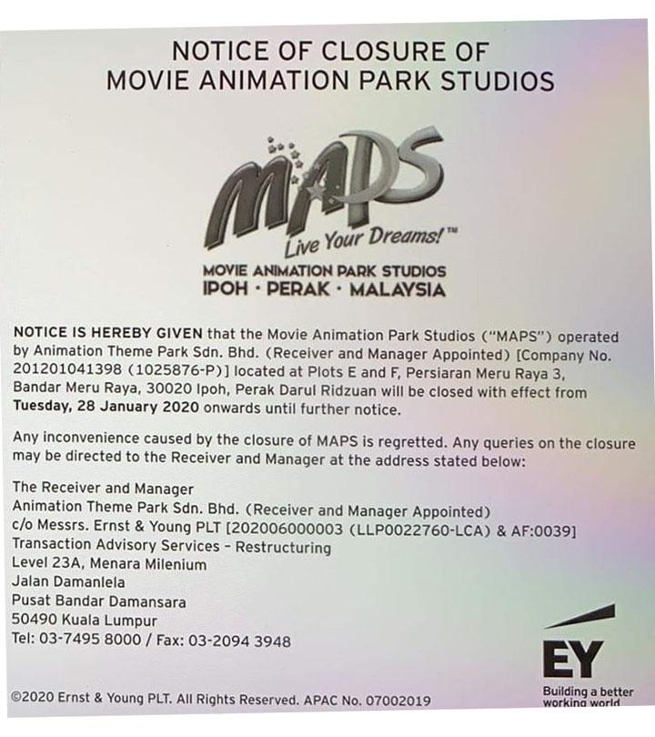Notis penutupan taman tema animasi MAPS Perak.