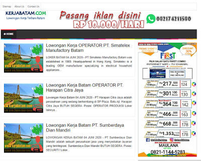 Situs lowongan kerja untuk perusahaan yang ada di kota Batam