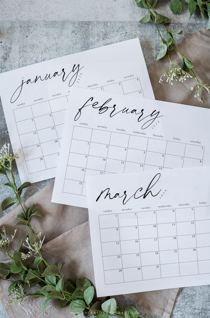 January February March 2020 calendar