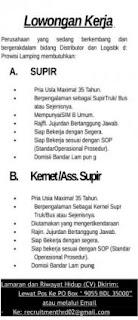 Kesempatan Kerja Lampung Terbaru Sebagai Supir dan Asst. Supir April 2017