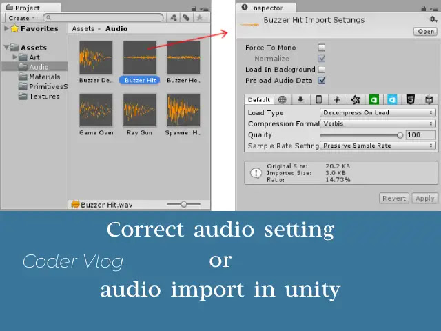 Correct audio setting or audio import in unity
