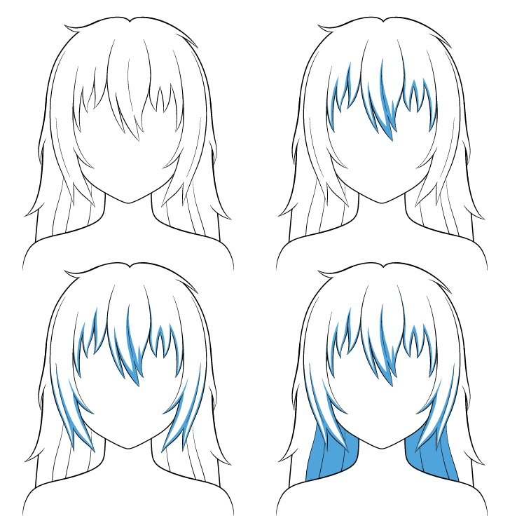 Langkah naungan rambut panjang berantakan anime