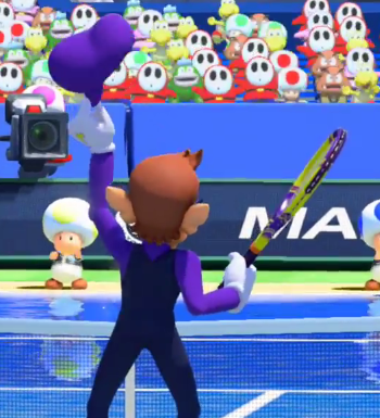 Waluigi without hat cap hair Mario Tennis Ultra Smash