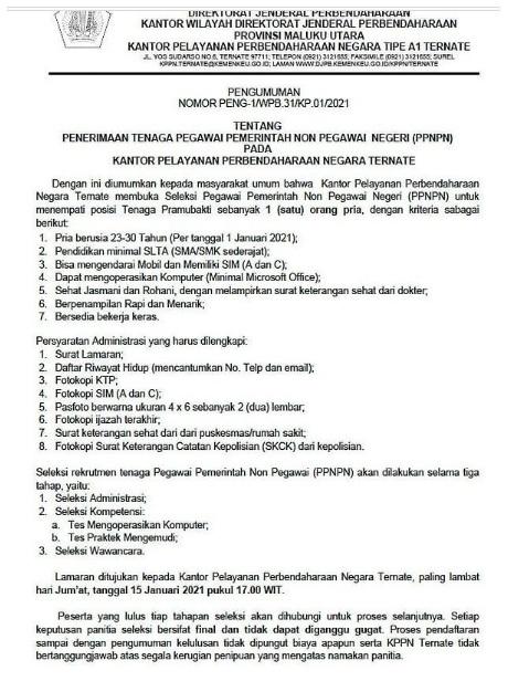 Pegawai PPNPN Kantor Pelayanan Perbendaharaan Negara Januari 2021