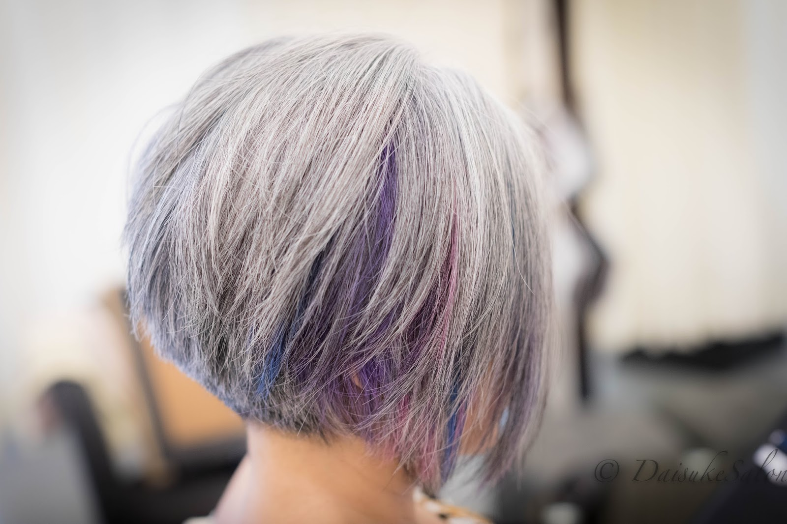 Colour Player   Natural Gray Hair With Peek A Boo Bright Colour Highlight