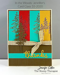 Fall thanks card with Stampin' Up!'s In the Woods Bundle!  Video and supply list on the blog!  #StampinUp #StampTherapist