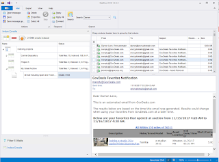Screen image showing how to search indexed Gmail messages in MailDex.