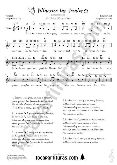 Villancico de las Vocales Partitura con las Notas en Letra para tocar con Flauta, violín, oboe... o cualquier instrumento melódico. El arreglo está en la tonalidad de Fa mayor Easy Notes Sheet Music for Christmas Children's song with Spanish Notes