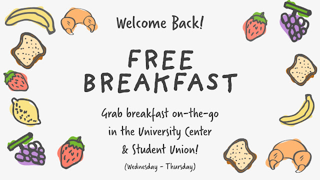 """Graphic reading, """"Welcome Back: Free Breakfast"""""""