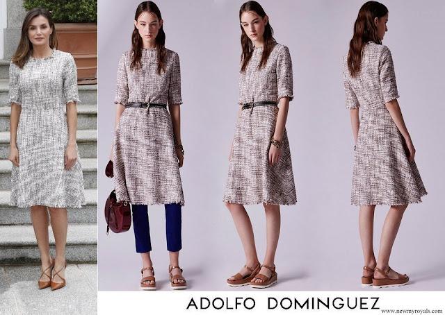 Queen Letizia wore an Adolfo Dominguez multicolor tweed dress