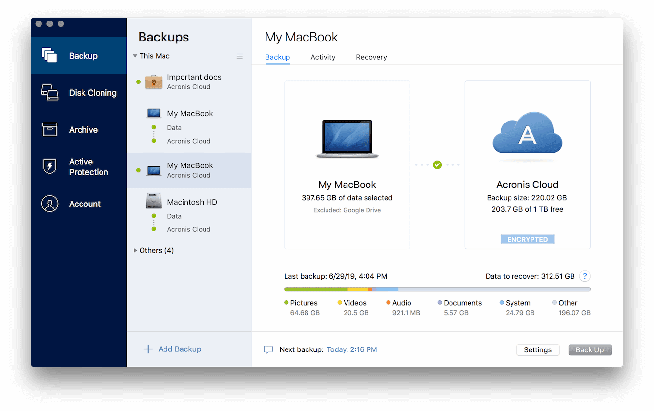 Acronis True Image for Mac Backups Screenshot
