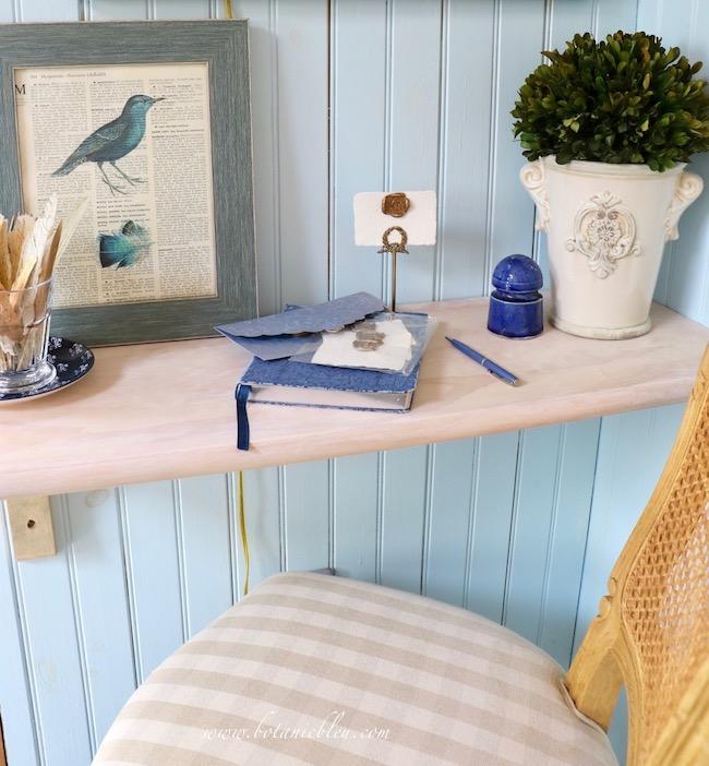 French Country Garden Shed Shelf Desk