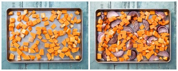 Making butternut squash - step 1 - roasting veg