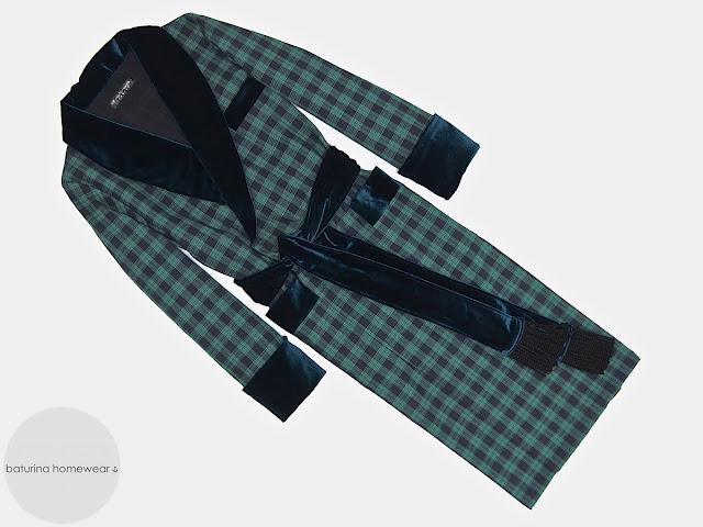 Mens vintage dressing gown warm smoking jacket robe cotton velvet