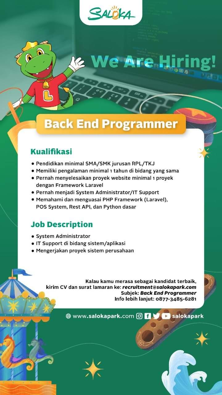 Lowongan Kerja Back End Programmer Saloka Park
