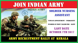 Soldier Nursing Assistant Recruitment Rally at Calicut, Kerala October 2017