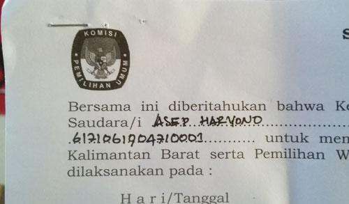FORMULIR C6 : Ini lah surat panggilan untuk mencoblos yang saya terima tadi siang (26/6), saya siap mencoblos.  Foto Asep Haryono