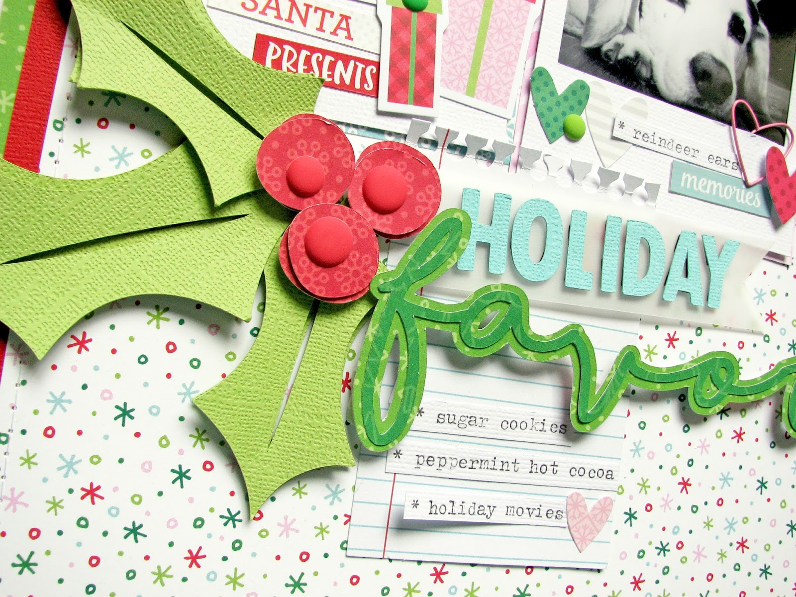 How to scrapbook a holiday - I Love The Matte Brads That Doodlebug Designs Came Out With How Great Do They Look In The Center Of The Holly Berries I Love The Little Mini Heart Clips