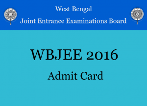 WBJEE admit card 2016