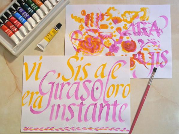 Prácticas con caligrafía cancilleresca