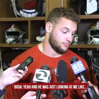 Nick Bosa react | Cleveland Browns vs San Francisco 49ers NFL Monday Night Football game